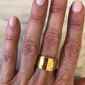 Michael Kors Gold Logo Plate Ring